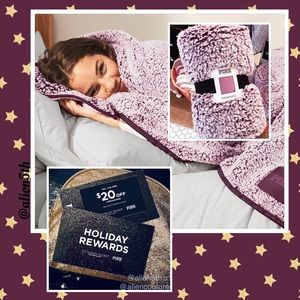 VS Pink Gorgeous Burgundy Sherpa Blanket